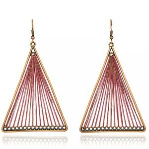 Boho Earrings Large Triangle Drop String Woven